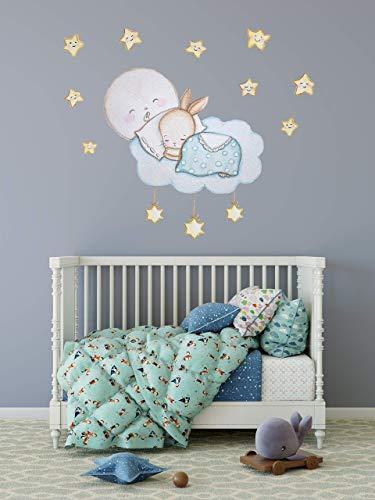 Hase Wanddeko Kinderzimmerdekoration Kaninchen Wandaufkleber Mond Sticker Gold Sterne Wandtattoo Schlafzimmer Himmel Wandsticker Wolken Aufkleber für Kinderzimmer Ideen Mädchen Wohnzimmer Babyzimmer -