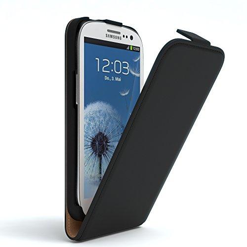Samsung Galaxy S3 / S3 Neo Hülle Flip Cover zum Aufklappen I von EAZY CASE I Handyhülle aufklappbar, Schutzhülle, Flipcover, Flipcase, Flipstyle Case vertikal klappbar, aus Kunstleder, Schwarz Galaxy S3 Handy Cover Leder