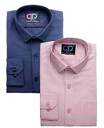 Koolpals Men's Formal Shirt (Combo of 2) (KPC07_FD_NB & PNK38_Multi-Coloured_38)