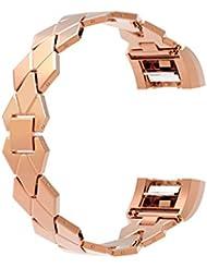 Für Fitbit Laden 2Strap/Fitbit Laden HR 2Träger, wearlizer Laden Zwei Ersatz Bands Edelstahl Tragegurt Rhombus Design Armband für Fitbit Laden HR zwei, silberfarben/Schwarz/Rose Gold/Gold