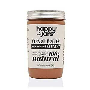 Happy Jars 100% Natural Unsweetened Crunchy Peanut Butter | Extra Crunchy | Make Smoothies & Salad Dressing with This | Gluten-Free | Vegan | No Oil | No Sugar | No Preservatives | No Cholesterol