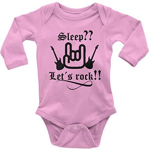 Mikalino Babybody mit Spruch für Jungen Mädchen Unisex Langarm Sleep let s rock | handbedruckt in Deutschland | Handmade with love, Farbe:rosa, Grösse:56
