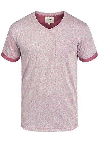 Redefined Rebel Moses Herren T-Shirt Kurzarm Shirt Mit V-Ausschnitt, Größe:L, Farbe:Bordeaux