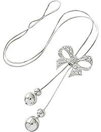 Hosaire Moda mujer Corbata de moño largo cadena encantos suéter collar accesorios de la joyería(plata)