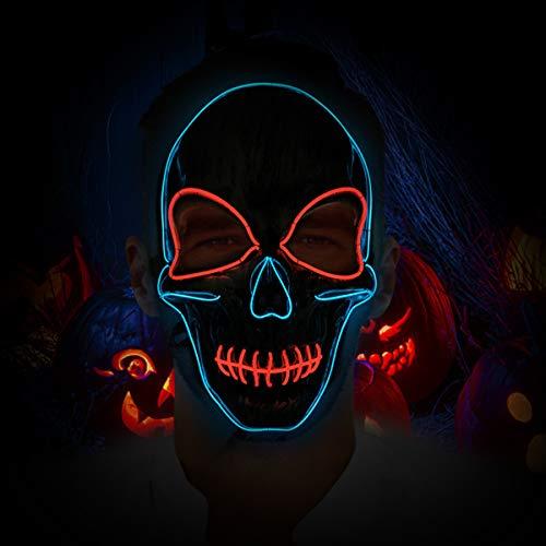 LED Halloween Grimasse Schädel Maske EL Draht Leuchtmaske für Festival Cosplay Halloween Kostüm batteriebetrieben (Nicht beinhaltet) - Rot + Blau ()
