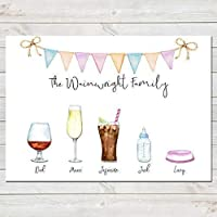 Drinks Family Print, Fun Personalised Watercolour Poster A3 or A4