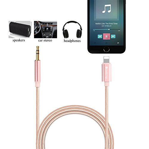 AUX Kabel für iPhone 7, ADTRIP Lightning an 3,5 mm Auto Aux Kabel für iPhone 7/7 Plus/6s Plus, Auto Stereo Home Lautsprecher (Rosa Auto-lautsprecher)
