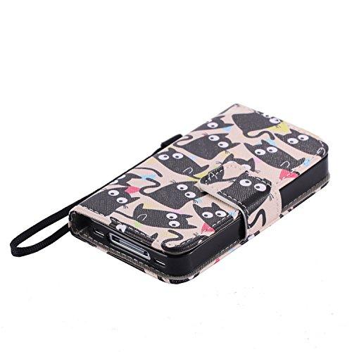 Nancen Apple iphone 4 / 4S (3,5 Zoll) Hülle, Flip-Case PU Leder Handytasche - Praktisches Design mit Magnetverschluss Standfunktion Brieftasche und Karten Slot Hochwertige Wallet Etui /Lederhülle / Ha Großaugiger Schwarze Katze