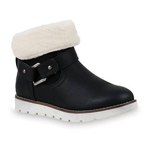 Bootsparadise Stivaletti Donna Stivaletti Foderati Stivali Piatti Zeppe Stivali Stivali Zeppa Scarpe Flandell Nero Bianco