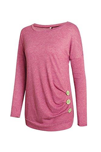 Lylafairy Damen Langarm Oberteile Herbst Sweatshirt Rundhals Elegant Casual T-Shirt Tops mit Zierknöpfe Rosa