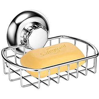 MaxHold Cesta de jabón Perforaciones/ventosas – Sistema de vacío – Acero Inoxidable Nunca se oxida – para baño y Cocina