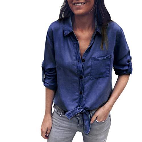 Bluse Damen Kolylong Frauen Elegant V-Ausschnit Denim Blusen mit Brusttaschen Beiläufig Jeans Hemden Vintage Bandage Langarmshirt Festlich Oberteil T-shirt Tunika Sweatshirt Tops -