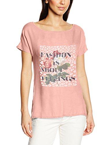 edc by ESPRIT Damen T-Shirt 046cc1k054-mit Print Rosa (SALMON 860)