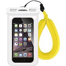Funda Impermeable Móvil Luxebell Carcasa Teléfono Universal Impermeable 25m IPX8 para Apple iPhone 6S 6,6S Plus, 5S 7, Samsung Galaxy S7, S6 Note 5 4, HTC LG Sony Nokia Motorola (Blanco, Amarillo)