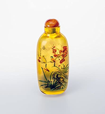 Chinese Handmade Glass Reversed Painted Snuff Bottle with Floral Patterns (Yellow)