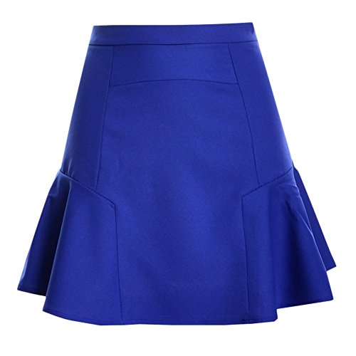 Donna Pure Color slim fasciatura elastica fishtail Gonna a vita alta Bodycon mini Chiffon A-line gonna Blu zaffiro