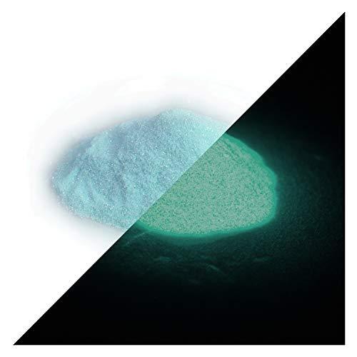 lumentics Nachleuchtender Glitzer Blau 50g - Im Dunkeln leuchtender Glitter zum Basteln für Farbe, Harz, Lack, Kunst, Fingernägel. Glow in The Dark Flitter. Fluoreszierendes UV Bastelmaterial. (Farbe Dunklen Den Schwarzen In Glühen)