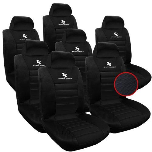 WOLTU AS7254-7 Set Coprisedili Auto 7 Posti Seat Cover Protezioni Universali per Macchina Tessuto Poliestere Nero