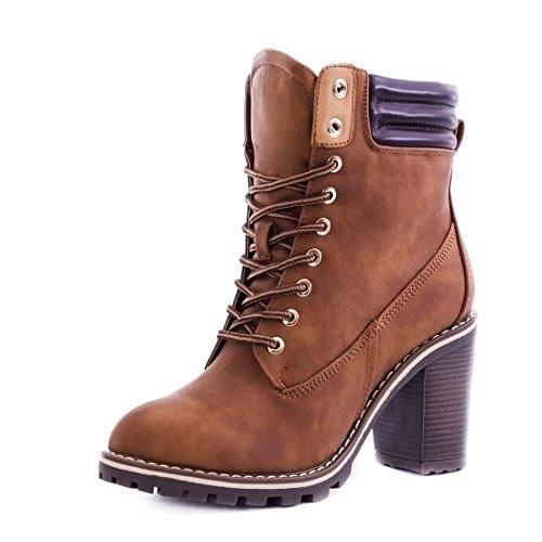 Damen Schnür Stiefel Stiefeletten Worker Boots mit Blockabsatz Camel Paris