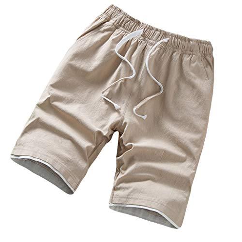 MOTOCO Männer Strand Sport Shorts Hosen Sommer Lose Gürtel Kordelzug Elastische Taille Lässig Täglich Party Fashion Studenten Laufen(XL,Khaki