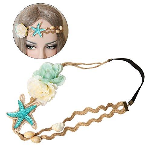 frcolor Strand Seestern Muschel-Blüte Hanf Seil Haar Band für Frauen Mädchen (Stretch-hanf)