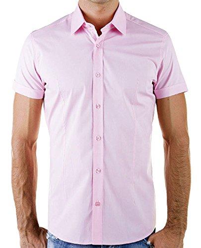 Redbridge By Cipo & Baxx Slim Fit Kurzarm Hemd Business Hochzeit Freizeit Pink - Rosa