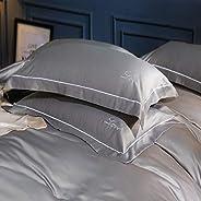 AMERTEER Satin Pillowcase [ Set of 2 ] Comfort & Soft White Pillow Standard 20x30 Size 100% Soft Cotton Pi