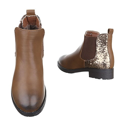 Ital-Design - Stivali Chelsea Donna Camel W152