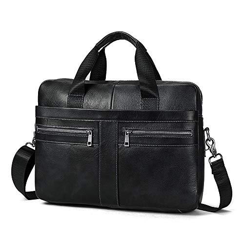 Businesstasche Herren Leder Aktentasche Männer Handtasche Vintage Laptoptasche Arbeitstasche Umhängetasche Schultertasche für 14 Zoll Notebook - Schwarz