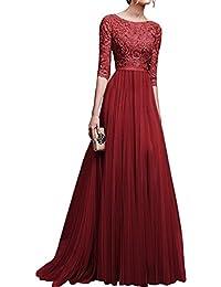 1920c66aae7b Jitong Donna Vestito Lungo Girocollo Pizzo Mezza Manica Abito da Sera  Elegante Vestiti da Cerimonia
