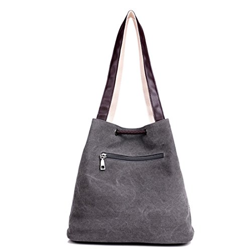 e5f3efe756f7c ... Damen Handtasche Canvas Schultertasche Umhängetasche Damen Shopper  Tasche Schöne Vintage Henkeltasche Beuteltasche Gray