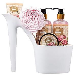 5 Piece Stylish British Rose Body & Bath High Heel Shoe Gift Set – Includes Shower Gel, Bubble Bath, Body Butter, Body…