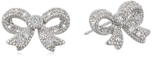 Amazon Rhodium-Plated Sterling Silver Cubic Zirconia Bow Stud Earrings