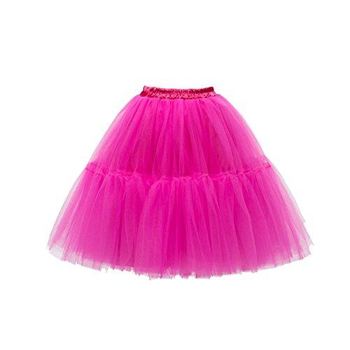 Honeystore Damen's Halloween Kostüme Unterkleid Lang Ballet Petticoat Tutu Rock Hellfuchsie