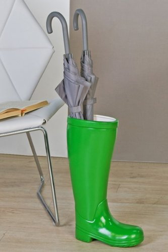 Casa Padrino Designer Schirmständer Stiefel Grün Höhe 45 cm, edle Skulptur aus Keramik - Edel & Prunkvoll