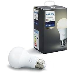 Philips Hue White - Bombilla LED E27 individual, 9,5 W, iluminación inteligente, luz blanca cálida regulable (compatible con Amazon Alexa, Apple HomeKit y Google Assistant)