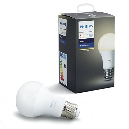 Philips Hue White Single LED E27 Light Bulb, Works with Alexa, 9.5 W
