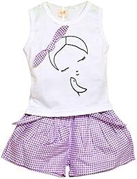 Mengonee Verano Kid Chica Bowknot Sin Mangas de la Camiseta del Tanque Pantskirt Culottes Cortos Set