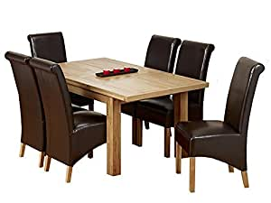 1home Solid Oak Dining Table Dining Room Furniture 2 Side