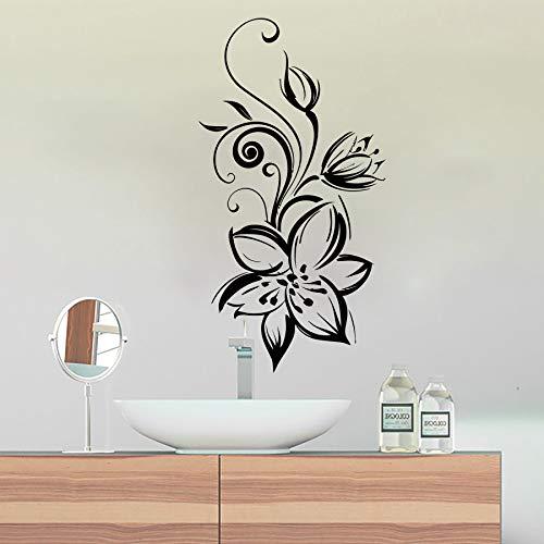 Wunderbare blumen silhouette design waschraum hroom poster entfernbare klebstoffe wandbilder abziehbilder vinyl aufkleber dekor 30 * 57 cm