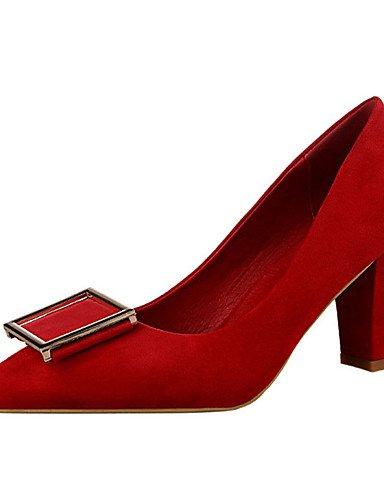 WSS 2016 Chaussures Femme-Décontracté-Noir / Marron / Rose / Rouge / Gris / Corail-Gros Talon-Talons-Talons-Cuir Verni fuchsia-us7.5 / eu38 / uk5.5 / cn38