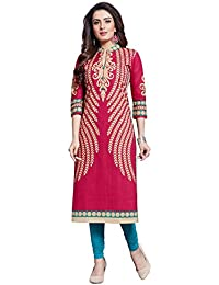 Ishin Cotton Pink Printed Casual Daily Wear Office Wear New Collection Latest Design Trendy Women's A-line Kurta