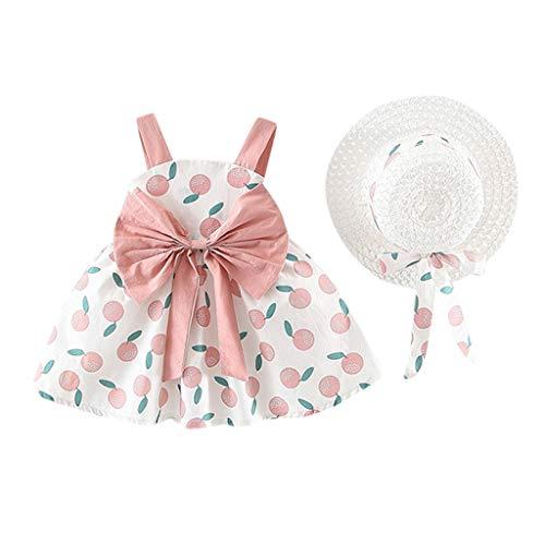 Livoral Mädchen ärmellose Orange Print Princess Neckholder Kleid + Hut Baby Baby Set(Rosa,90)