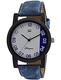 Om Designer Analogue White Dial Analogue Blue Belt Watch For Mens & Boys OM2424