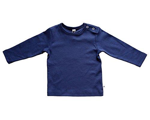 Baby Kinder Langarmshirt Bio-Baumwolle GOTS 13 Farben T-Shirt Shirt Jungen Mädchen Gr. 50/56 bis 140 (50-56, dunkelblau)