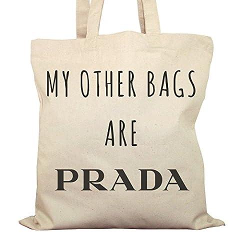 Tote Bag Imprimé Ecru - Toile en coton bio - My other bags are Prada