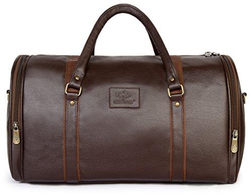 The Clownfish Unisex Premium Leatherette Travel Duffle Weekender Bag (Brown) 46b749d6237bd