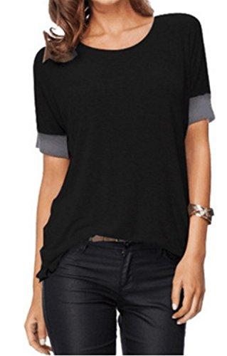 SHUNLIU Damen T-Shirt Rundhals Kurzarm Ladies Sommer Casual Oberteil Locker Bluse Tops - weiches Material - sehr angenehm zu tragen Schwarz