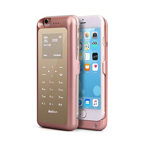 Cover Power Bank iPhone 6 / 6S da 3000mAh - Skitic Batteria Ricaricabile Esterna Banca di Potere Caricabatterie Portatile Insert Sim/SD Card Call Clip Backup Battery Charger Protettiva Custodia Case - Oro Rosa