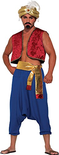 rince Fancy Dress Aladdin Outfit Genie Vest Costume Red ()